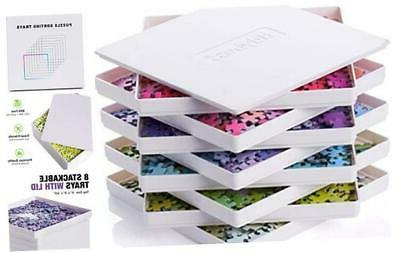 8 puzzle sorting trays with lid portable