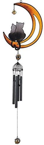 George S. Chen Imports Wind Chime with Black Coated Gems Cat