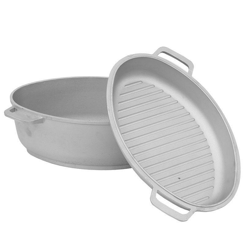 aluminum oven roaster with lid grill pan