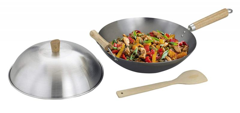 Asian Kitchen Wok, Steel with Lid Spatula