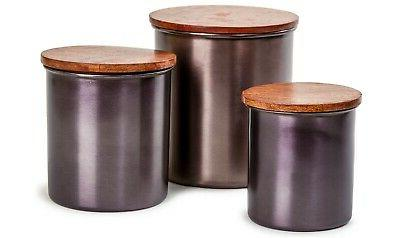 black canister set with wood lids 3