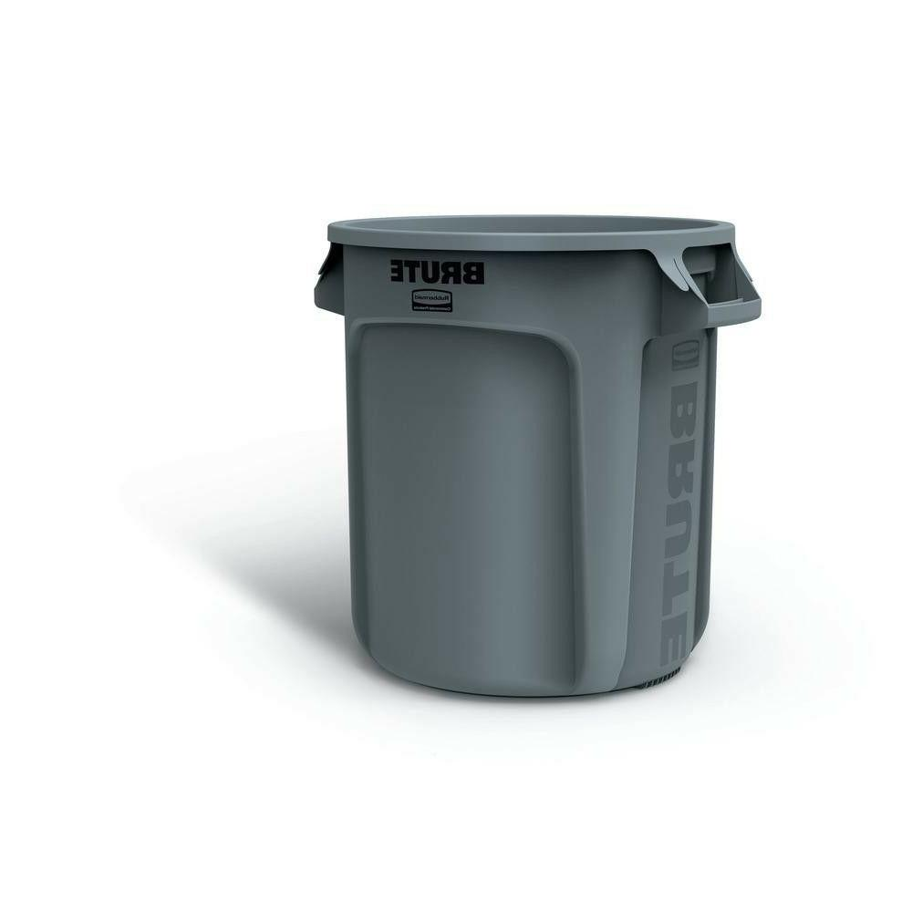 Brute 10 Gal. Gray Round Vented Trash Can with Lid Commercia