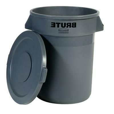 Brute 20 Gal. Gray Round Vented Trash Can with Lid Commercia