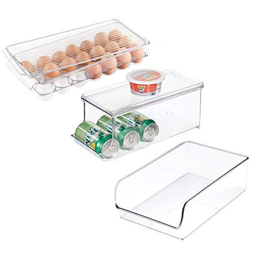 mDesign Canned Food/Soda Organizer with Lid, 21-Egg Holder,