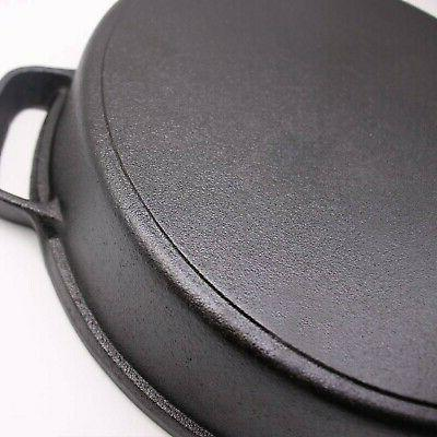 Cast with Tempered Glass Lid, 12-Inch Double Handled Cast Iron D...