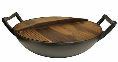 """Kasian House Cast Iron Wok with Wooden Lid 12"""" Diameter and"""