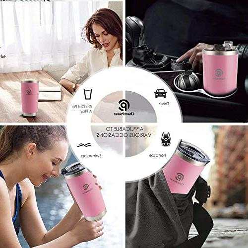 CHANTPOWER Travel Cold/Hot Drinks.20oz- Tumbler. Double Wall Stainless Steel Insulation. Travel Flask with and Powder