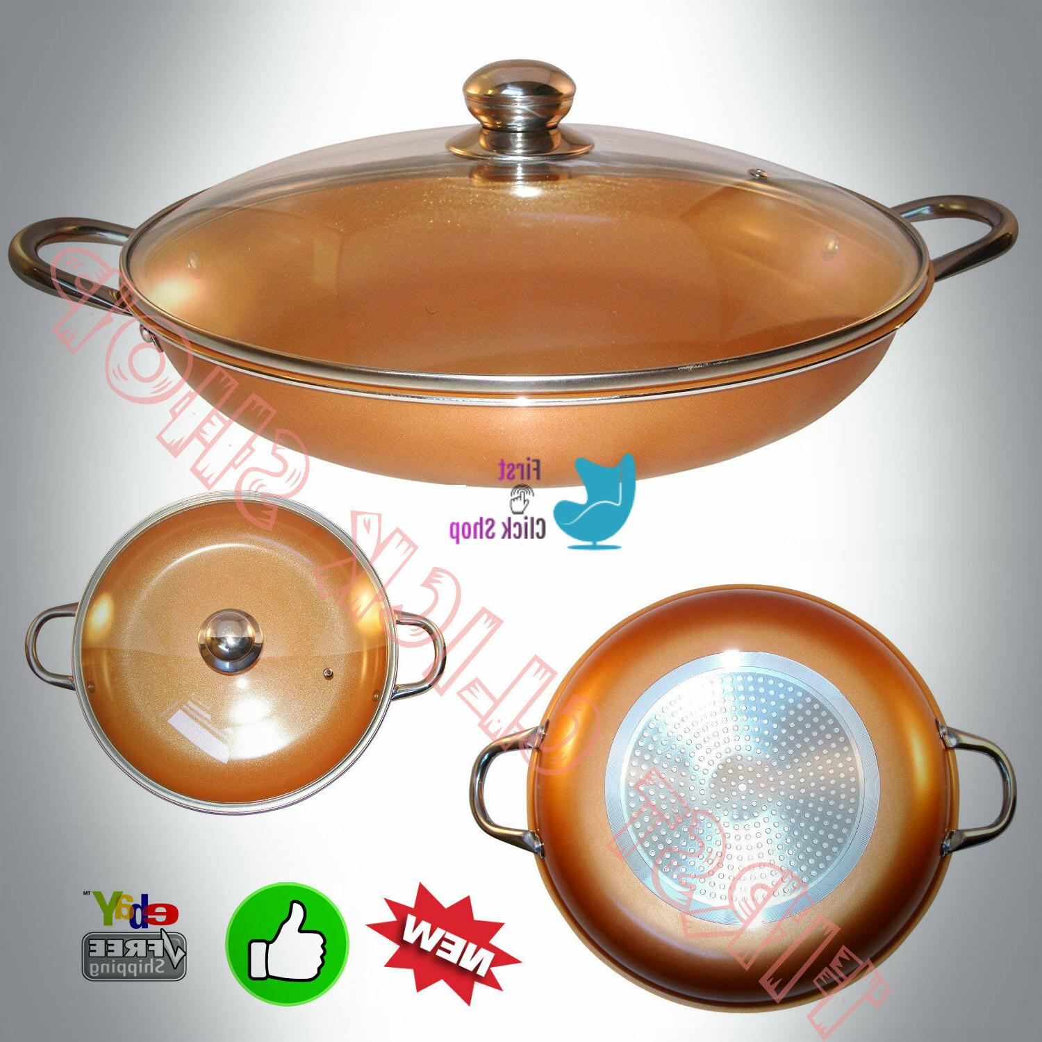 Cooper Frying Pan 10.5 Inch With Glass Lid, Non Sick Ceramic