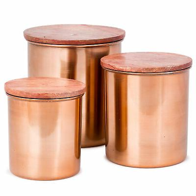 Copper Canister Set With Wood Lids - 3 pcs Airtight Copper S