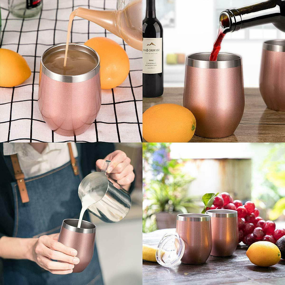 Cupture 12oz Stainless Steel Wine Glasses Vacuum Tumbler with Lid