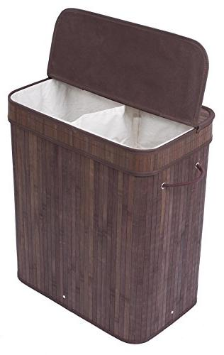BirdRock Home Double Laundry Hamper with Lid and Cloth Liner