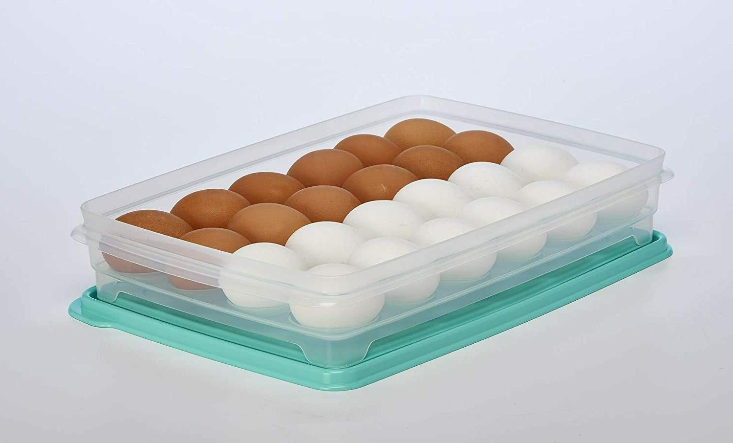 Egg For Refrigerator Deviled Egg Tray With Lid For 24 E