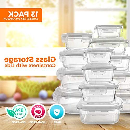 Glass Food - Meal Prep Container With On Lids Microwave, Oven, Best & Pantry Free
