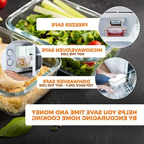 Glass - Prep Leakproof Container With Snap On Microwave, Oven, Safe. Best & Pantry BPA Free