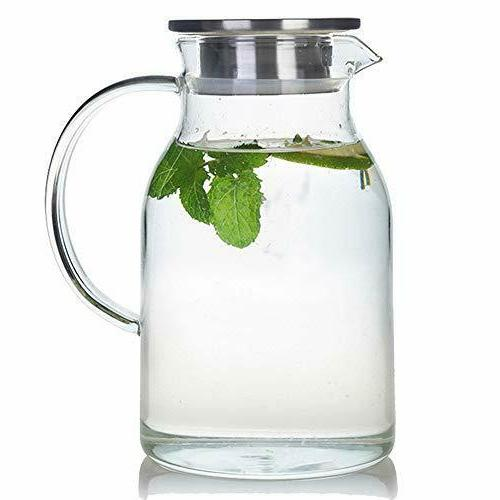 68 Ounces Glass Pitcher with Lid, Water Jug for Hot/Cold Wat