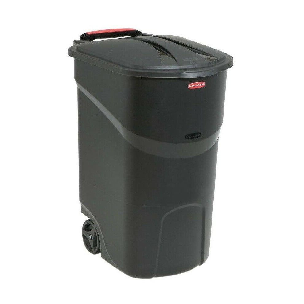 Rubbermaid Heavy Duty Large 45 Gallon Black Wheeled Trash Ca
