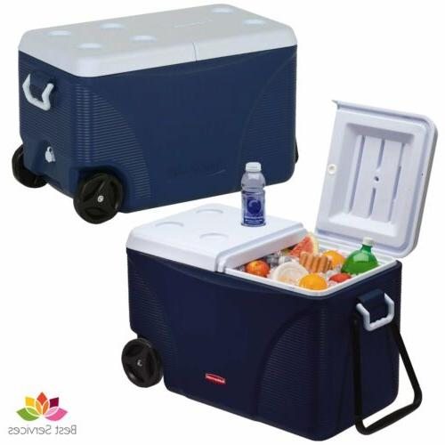 large rolling ice chest cooler with wheel