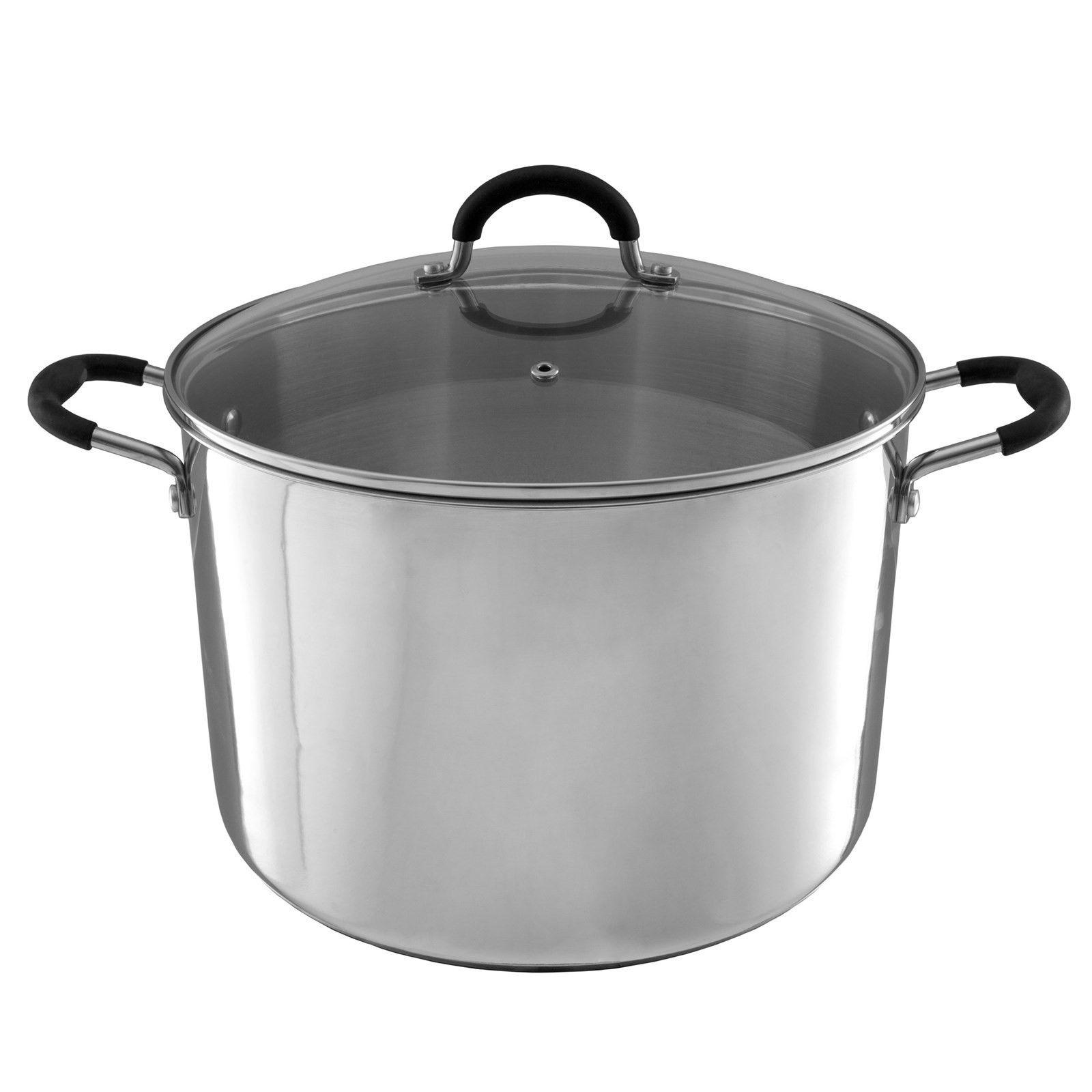 Large Stainless Steel Stock Pot with Lid Vent Hole Induction