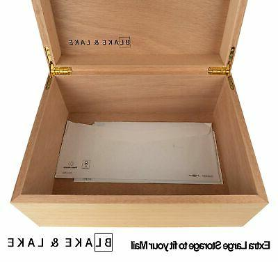 Large Hinged - Wood Storage with Lid - White