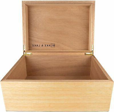 large wooden box with hinged lid wood