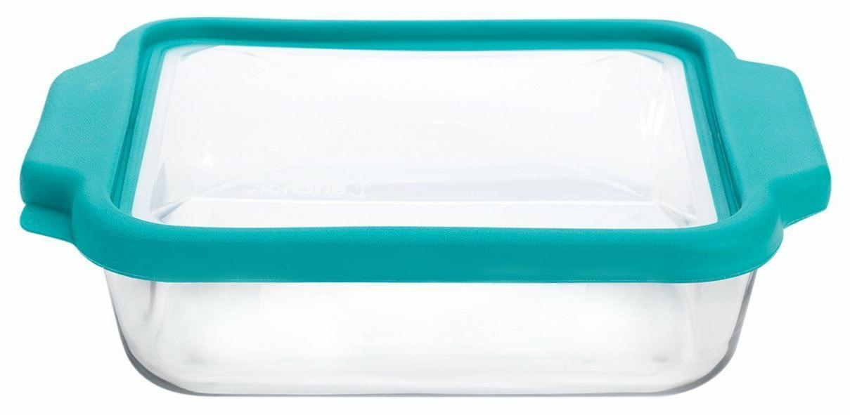 New Anchor Hocking 8-InchSquare Glass Baking Dish with Teal