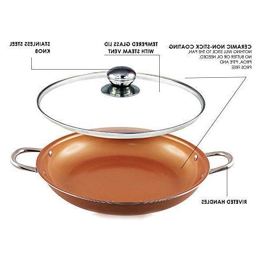 14 inch Non Copper coated Induction Base Cooking 14''Wok Casserole Lid safe copper