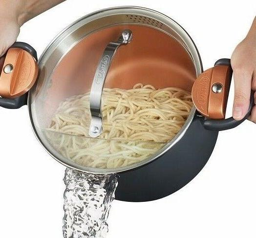 non stick pasta pot with glass lid