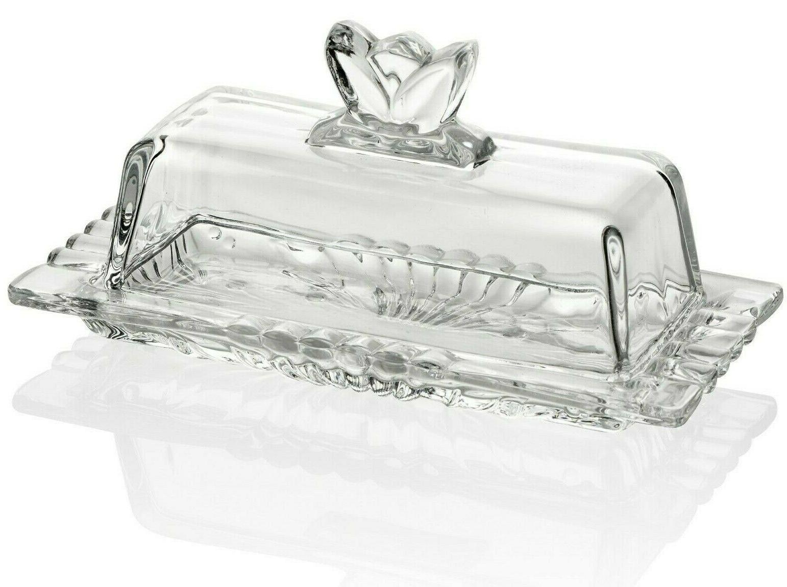 premium glass butter dish with flower lid