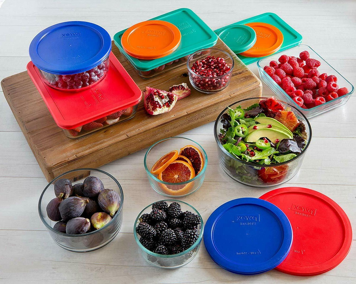 Pyrex Simply Store Rectangular and Round Food Container Set (18-Piece,