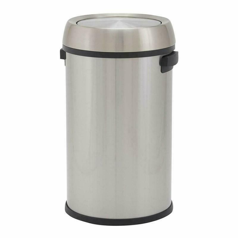 Round Stainless Steel Commercial Trash Can With Swing Lid 65