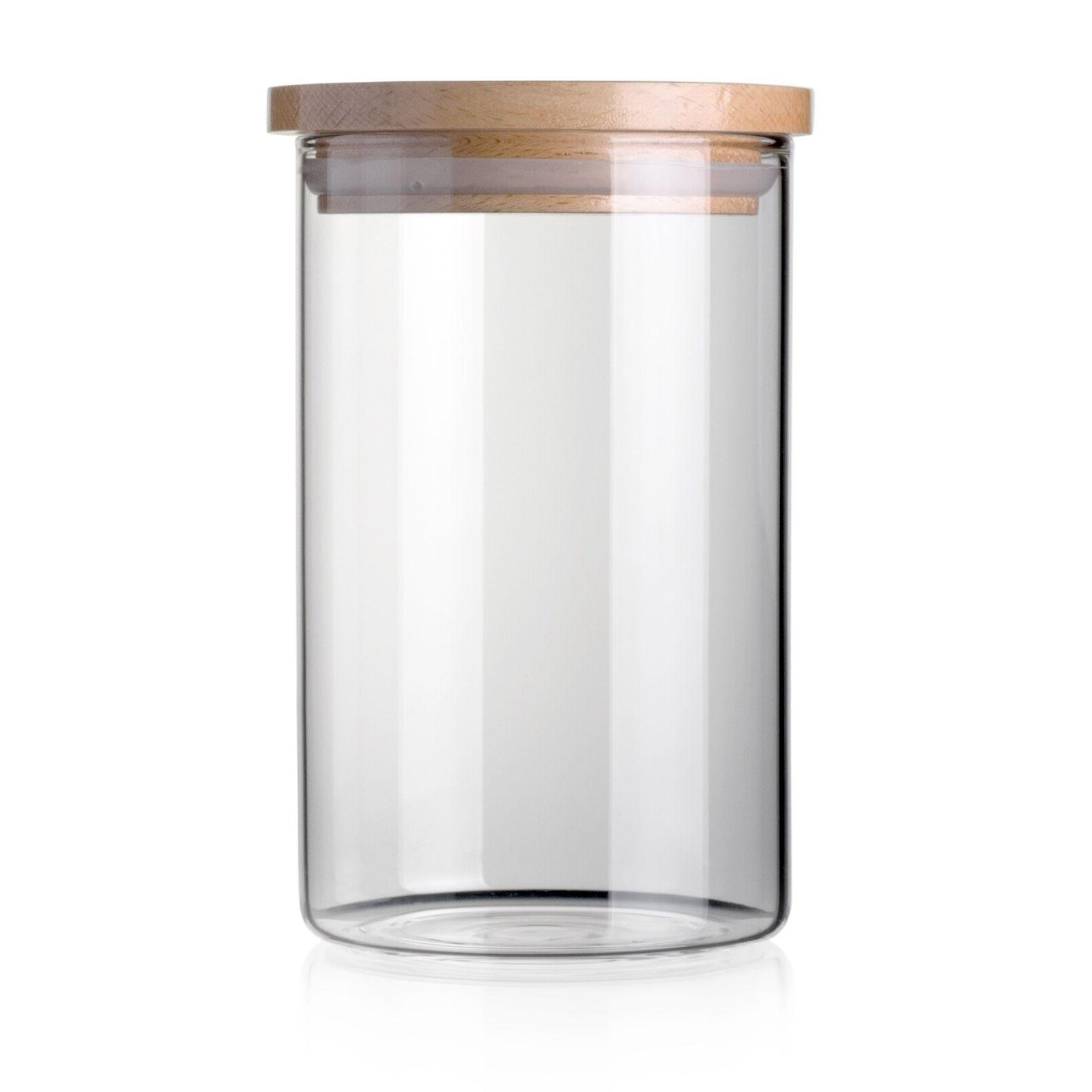 STACK UP Safe Clear Borosilicate Glass Jar with Wooden Lid -
