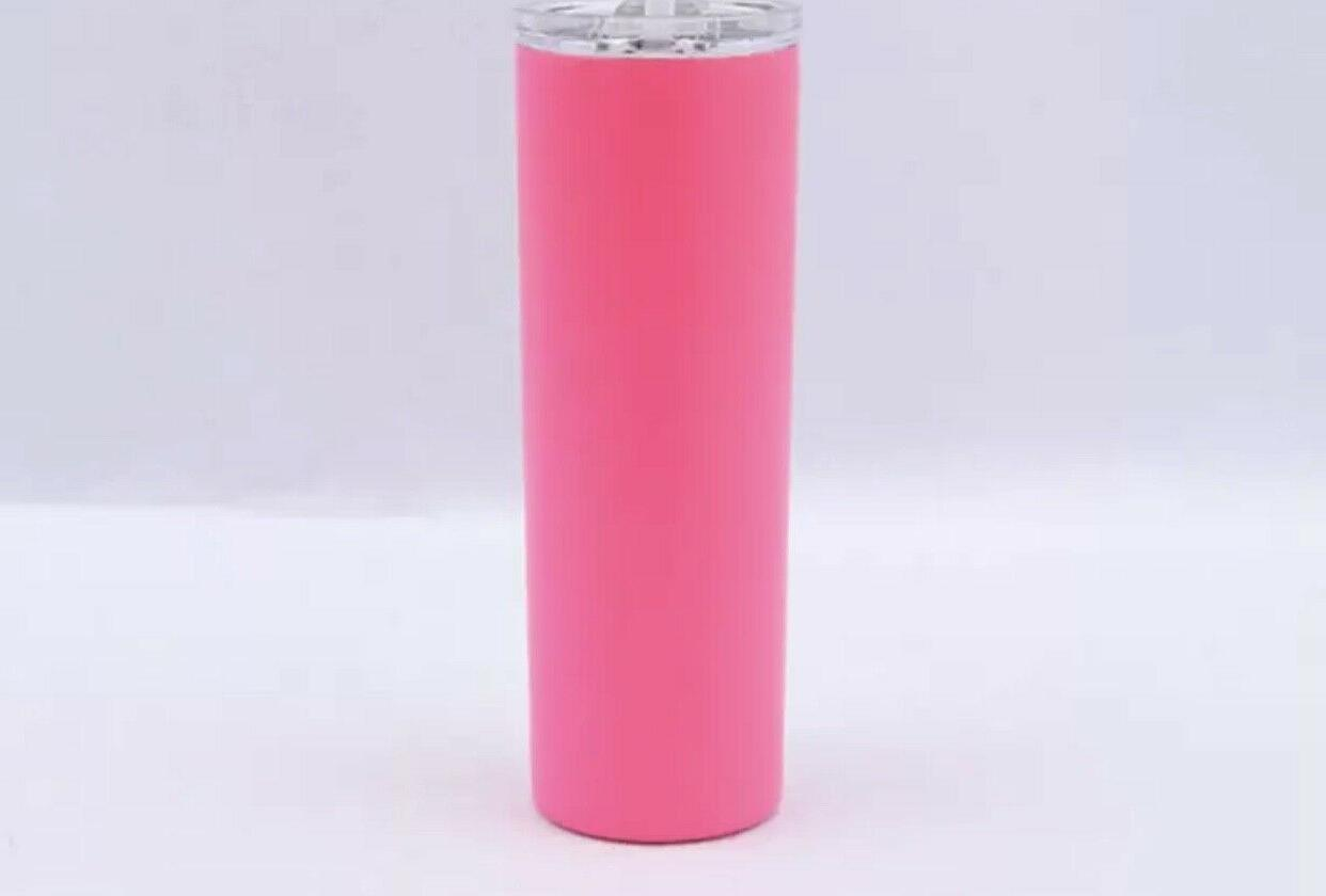 Stainless steel 20oz skinny tumbler wall with and straws