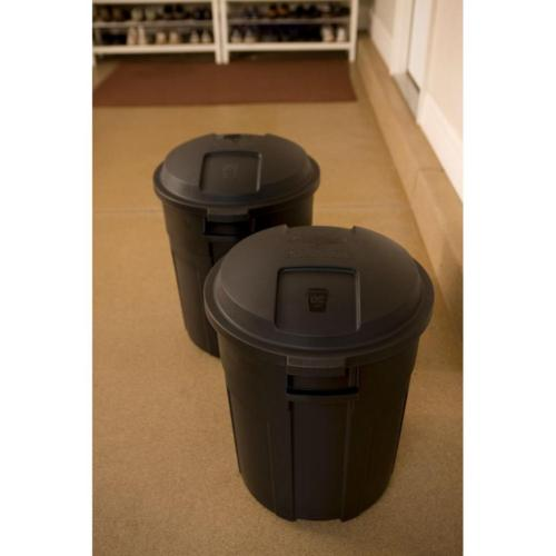 Trash with 20 Gal Round Outdoor Yard Heavy Black