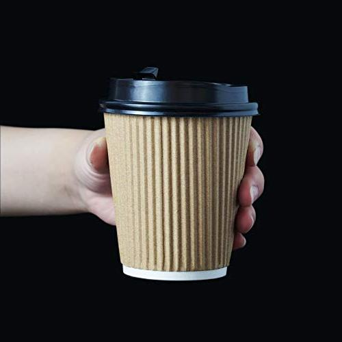 12-OZ Coffee Cups with Lids 90 No Insulated Paper for Hot Go, Recyclable Durable