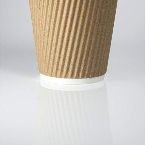 12-OZ Disposable Coffee with 90 Set - Sleeves Insulated Kraft Paper Cups for Go, No Leak! Recyclable Durable