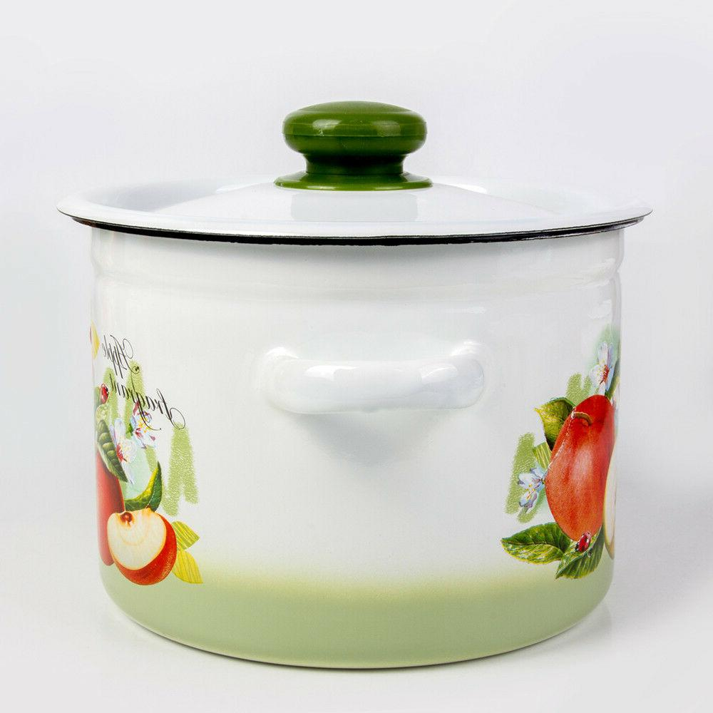White Enamel with Lid. Durable Enamelware Pots from