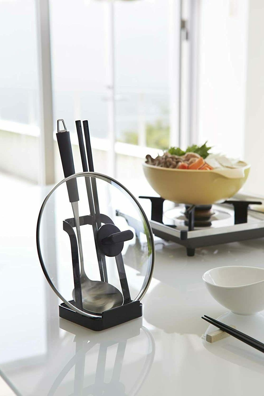 YAMAZAKI Tower Ladle Holder-Lid Stand for Utensils in Black