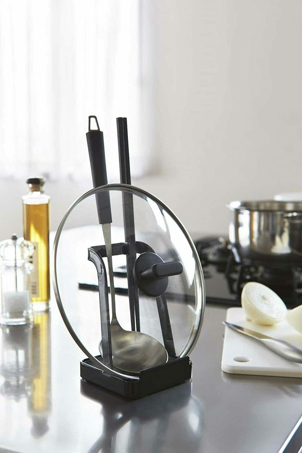 YAMAZAKI 2249 Ladle Holder-Lid Stand for Utensils in Black