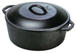 Lodge L8DOL3 Pre-Seasoned Cast-Iron Dutch Oven with Dual Han