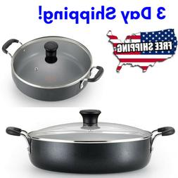 Large Deep Frying Pan With Glass Lid Non Stick Saute Fry Pan