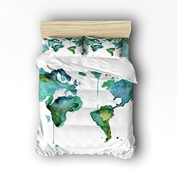 Family Decor Map of the World Print Home Comforter Cover Bed