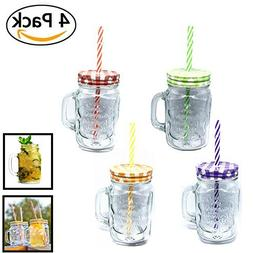 Pack of 4 Mason Jar Mugs with Handle, Color Lids and Plastic