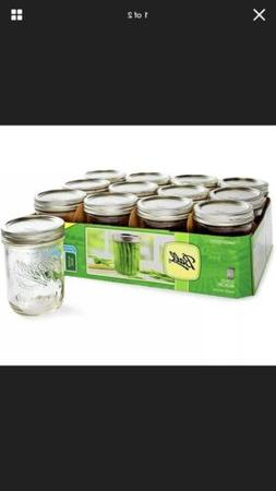 Ball Mason Jars Pint  Wide Mouth Bands And Dome Lids 12 / Bo