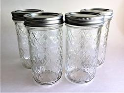 Mason Ball Jelly Jars-12 oz. each - Quilted Crystal Style-Se