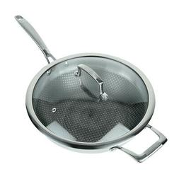 """Masterpan 12"""" Wok Pan For Cooking Stir Fry With Glass Lid"""