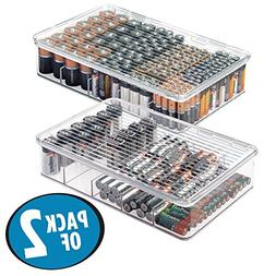 mDesign Stackable Battery Organizer Box for AAA to C Size Ba
