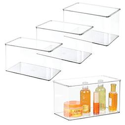 mDesign Stackable Bathroom Storage Organizer Boxes Holders w