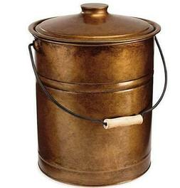Metal Ash Bucket with Lid Cover Bronze Fireplace Stoves 3 Ga