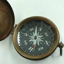 Nautical Brass Finish Compass With Lid Vintage Antique Mini