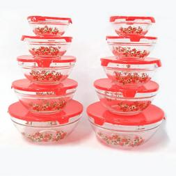 Nested Glass Bowls Set With Poinsettia Design and Red Lids -